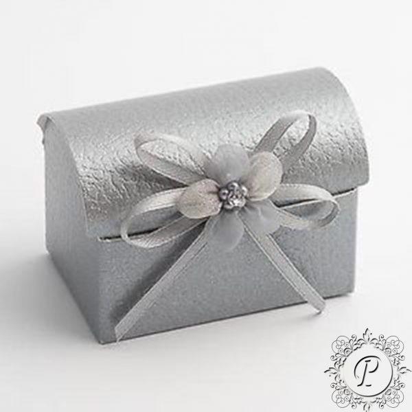 Silver Pelle Ballotin Chest Wedding Favour Box