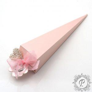 Pink Satin Confetti Cone Wedding Favour