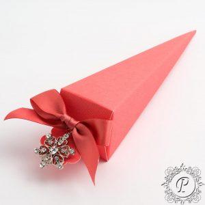 Coral Confetti Cone Wedding Favour