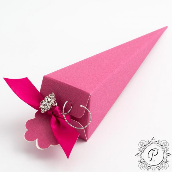 Fuchsia Confetti Cone Wedding Favour