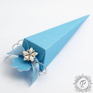 Blue Confetti Cone Wedding Favour