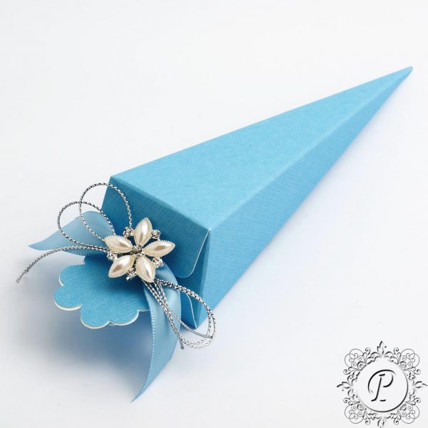Blue Confetti Cone Wedding Favour