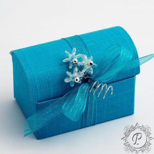 Turquoise Ballotin Chest Wedding Favour Box