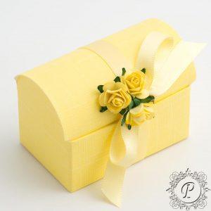 Yellow Ballotin Chest Wedding Favour Box