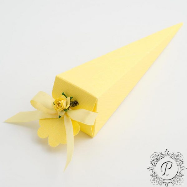 Yellow Confetti Cone Wedding Favour