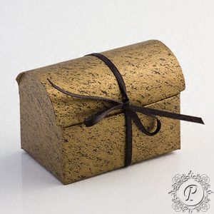 Black and Gold marbled Ballotin Chest Wedding Favour Box