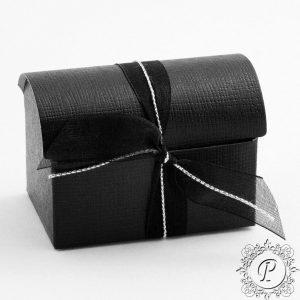 Black Leather Effect Ballotin Chest Wedding Favour Box