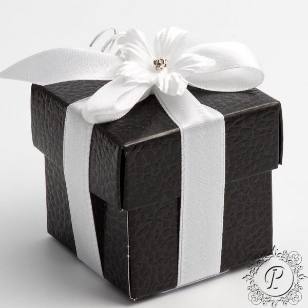 Black Pelle Cube Corpercio Wedding Favour Box