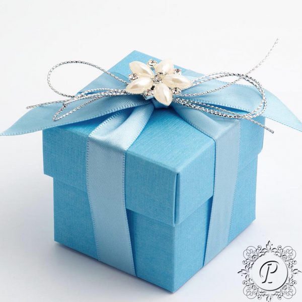 Blue Cube Corpercio Wedding Favour Box