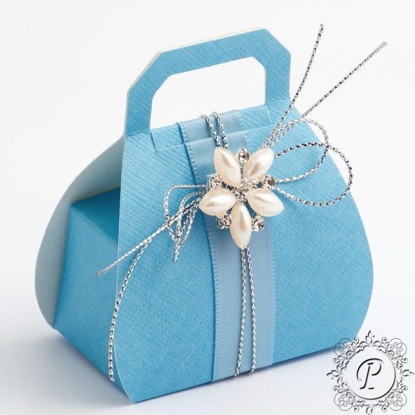 Blue Handbag Wedding Favour Box