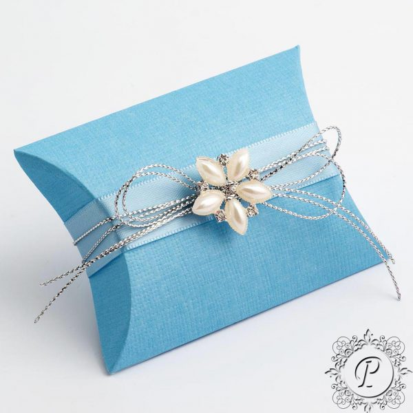 Blue Pillow Bustina wedding Favour Box