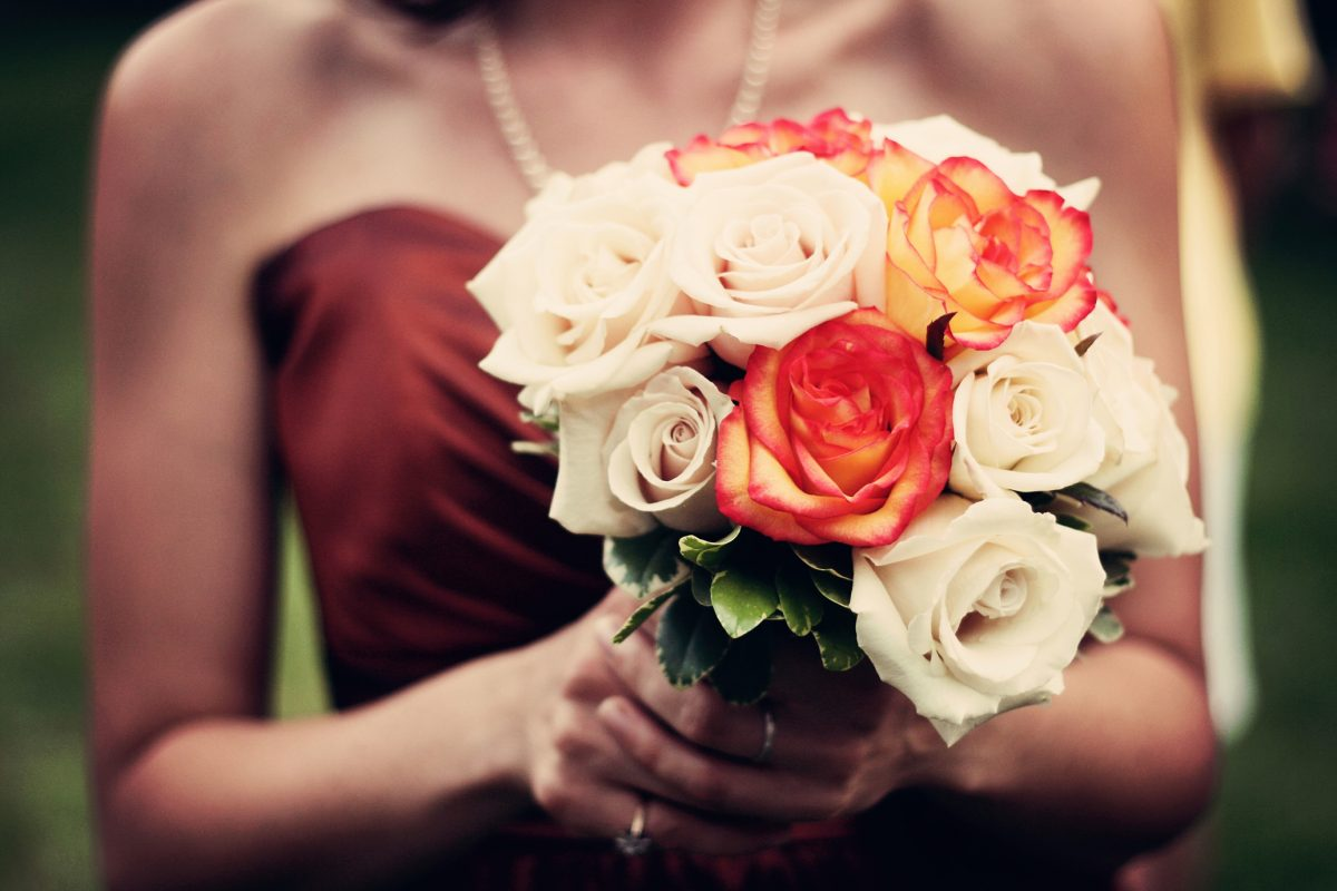 White and red rose bouquet