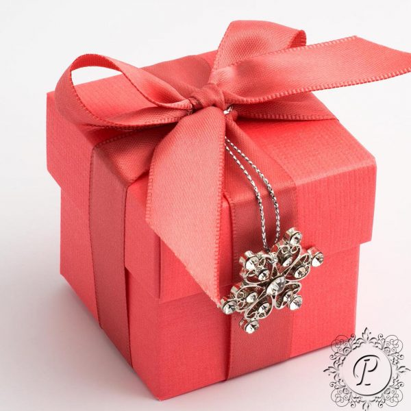 Coral Cube Corpercio Wedding Favour box