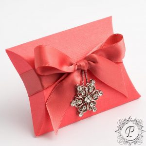 Coral Pillow Bustina Wedding Favour Box