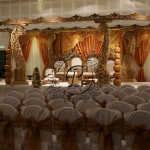 Angled view of Diya Mandap with theatre seating arrangement
