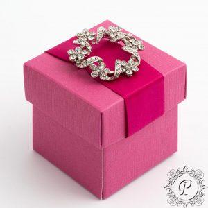 Fuchsia Cube Corperchio Wedding Favour Box