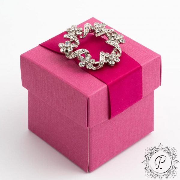 Fuchsia Cube Corperchio Wedding Favour Box