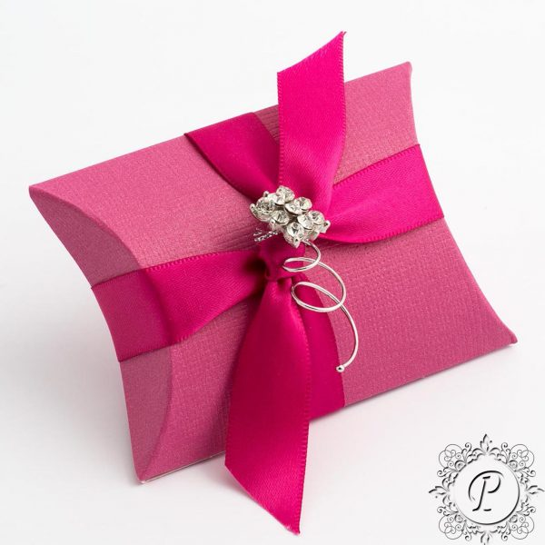 Fuchsia Pillow Bustina Wedding Favour Box