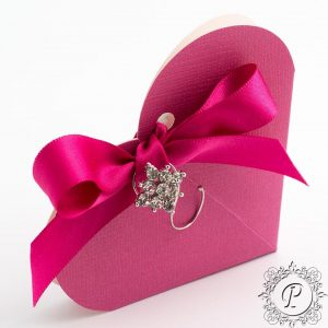 Fuchsia heart Wedding Favour Box
