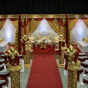 Front view of Ashika Hex Mandap with theatre style seating