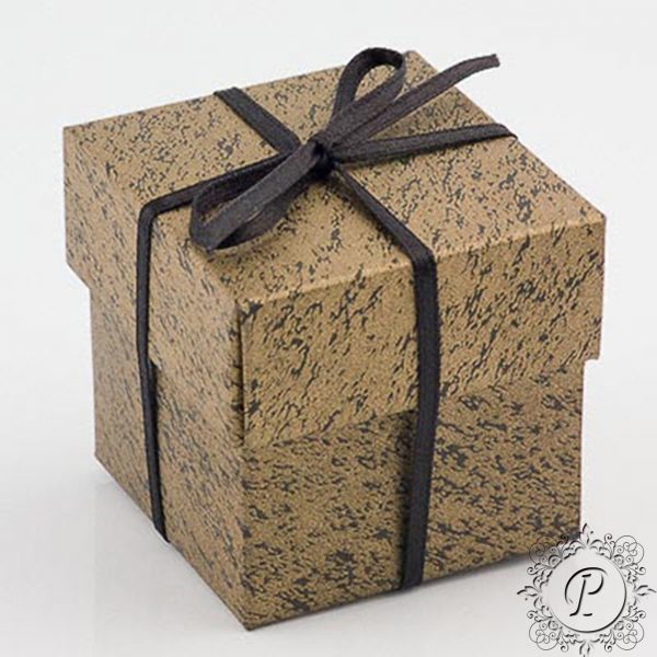 Gold & Black Cube Corperchio Wedding Favour Box