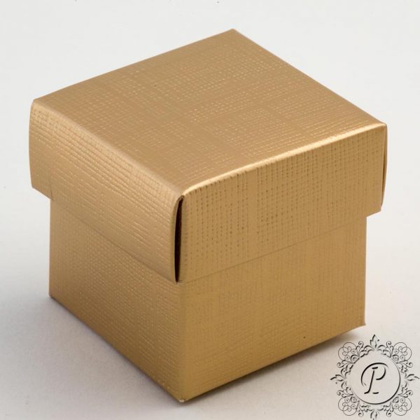 Gold Cube Corperchio Wedding Favour Box