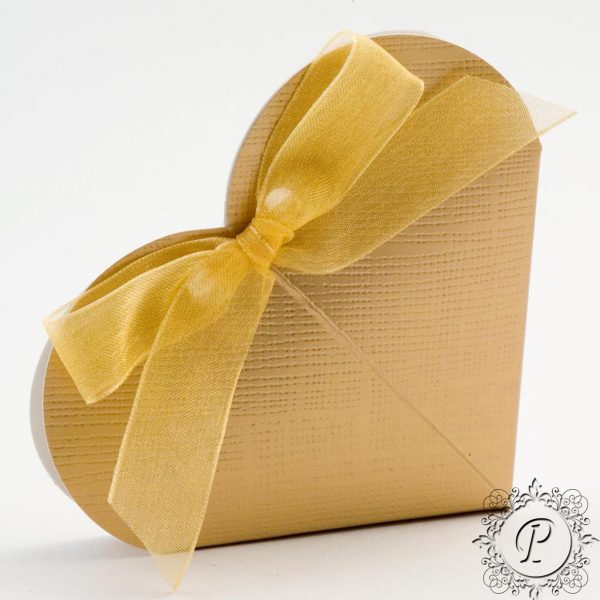 Gold Heart Wedding Favour Box