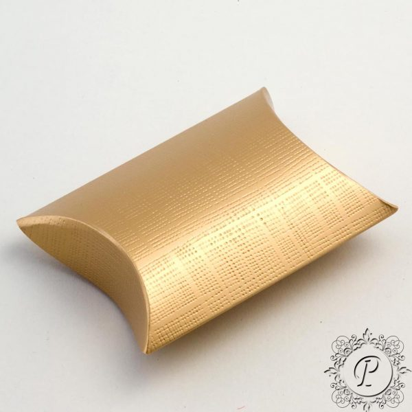 Gold Pillow Bustina Wedding Favour Box