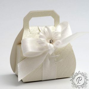 Ivory Ardesia Handbag Wedding Favour Box