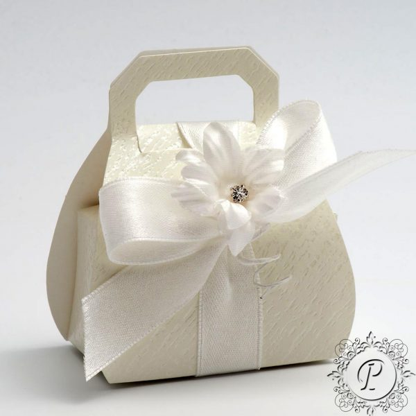 Ivory Ardesia Handbag Wedding Favour Box