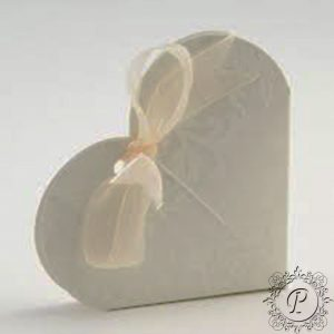 Ivory Diamante Heart Wedding Favour Box