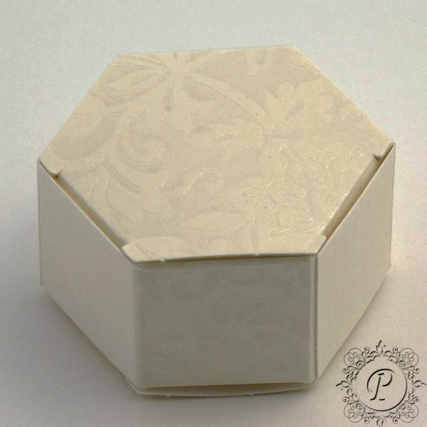 Ivory Diamante Hex Astuccio Wedding Favour Box