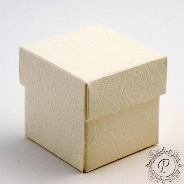 Ivory Soft Rose Cube Corpercio Wedding Favour Box