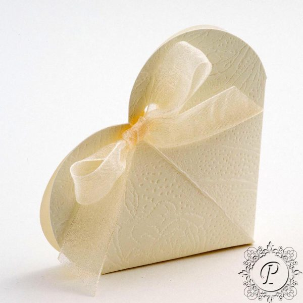Ivory Soft Rose Heart Wedding Favour Box