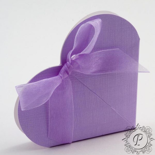 Lilac Heart Wedding Favour Box