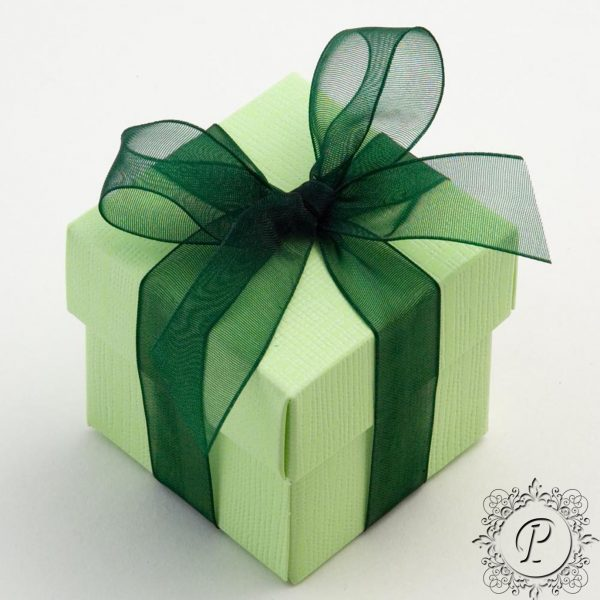 Lime Green Cube Corpercio Wedding Favour Box