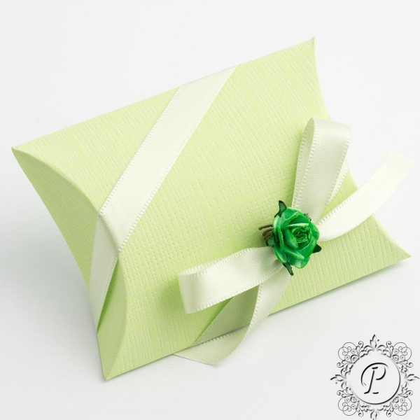 Lime Green Pillow Bustina Wedding Favour Box