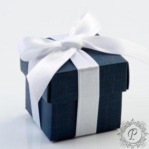 Navy Blue Cube Corperchio Wedding Favour Box