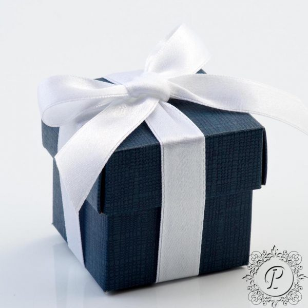 Navy Blue Cube Corperchio Wedding Favour Box