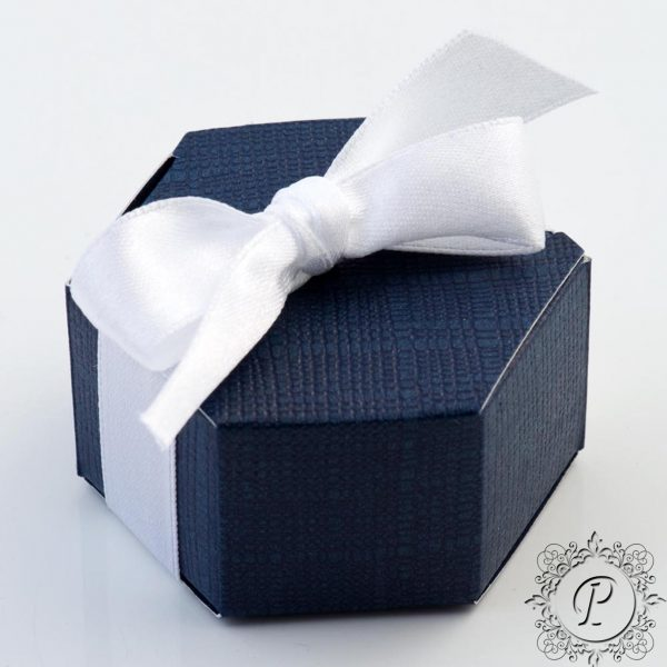 Navy Blue Hex Astuccio Wedding Favour Box