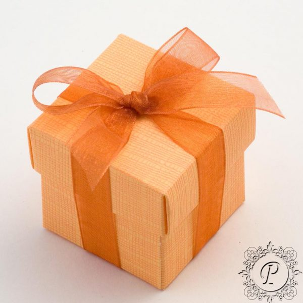 Orange Cube Corpercio Wedding Favour Box