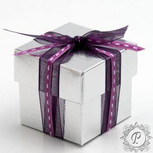 Silver Cube Corpercio Wedding Favour Box