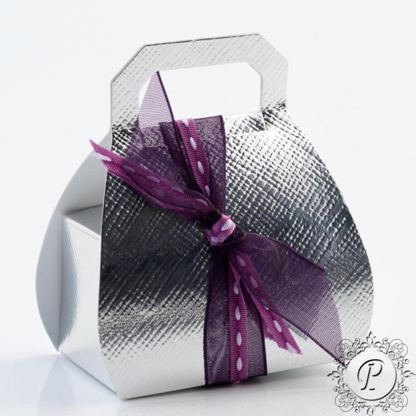 Silver Handbag Wedding Favour Box