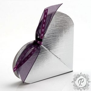Silver Heart Wedding Favour Box