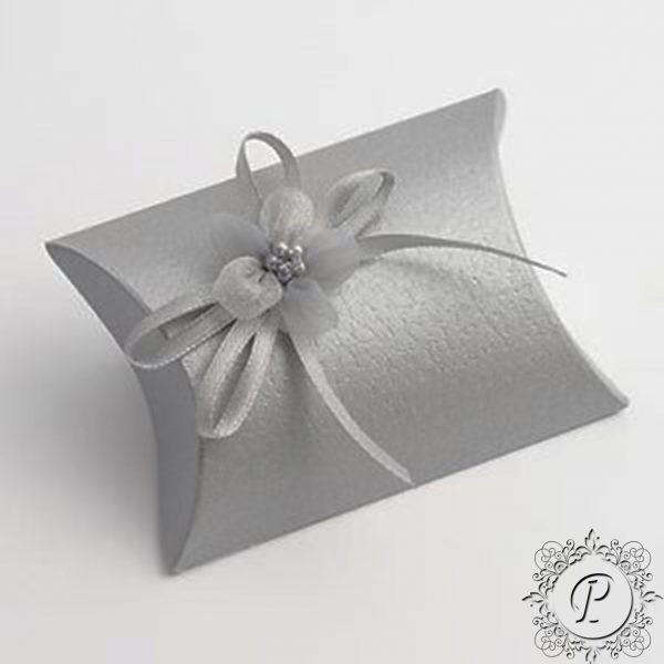 Silver Pelle Pillow Bustina Wedding Favour Box