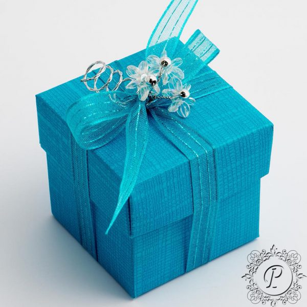 Turquoise Cube Corperchio Wedding Favour Box
