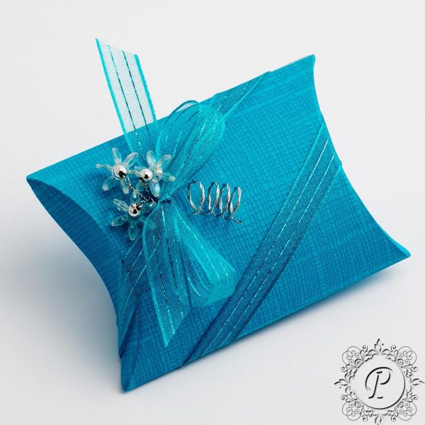 Turquoise Pillow Bustina Wedding Favour Box