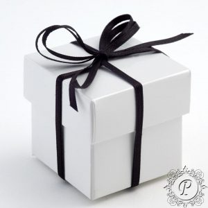 White Gloss Cube Corpercio Wedding favour Box