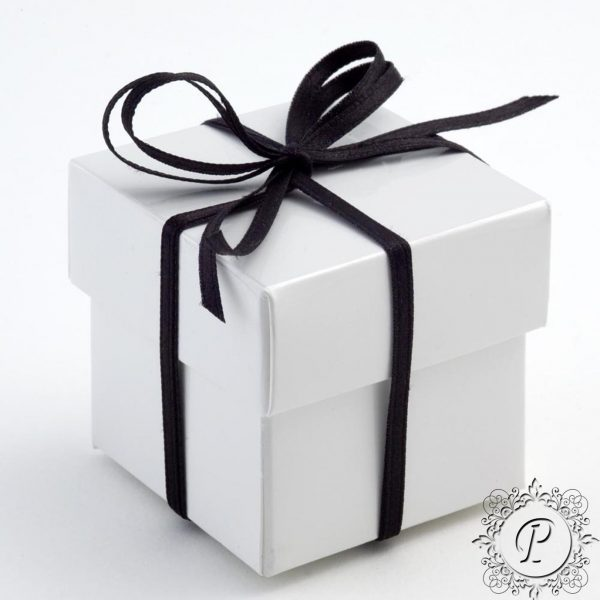 White Gloss Cube Corpercio Wedding favour Box
