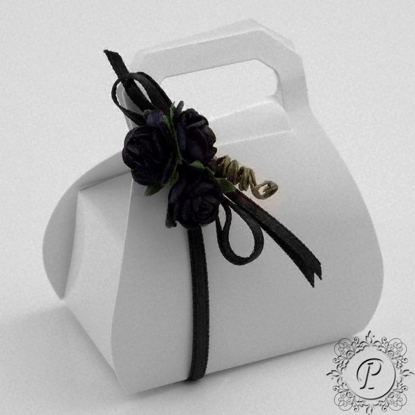 White Gloss Handbag Wedding Favour Box